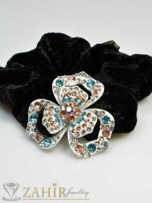 Черен велурен ластик с цвете от цветни кристали - LK1016