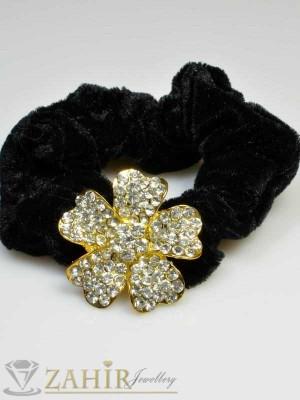 Черен велурен ластик с цвете от бели кристали - LK1032