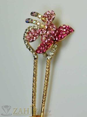 Луксозен метален фуркет за кок с цветни кристали - F1012