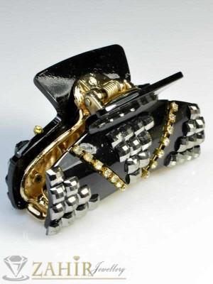 Черна щипка с черни кристали - ST1017