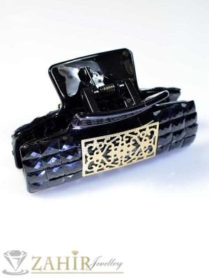 Луксозна 8см щипка с черни кристали - ST1022