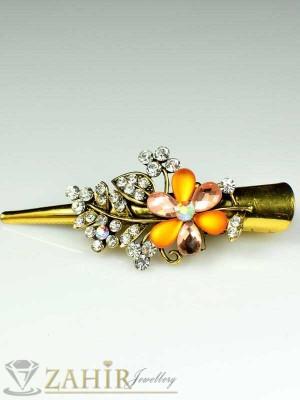 Метална щипка тип щъркел- 8 см с блестящи оранжеви кристали - ST1045