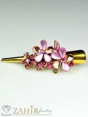 Метална щипка тип щъркел- 8 см с блестящи розови кристали - ST1048