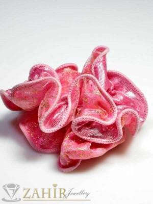 Бонбонено-розов двулицев ластик за коса - L1015
