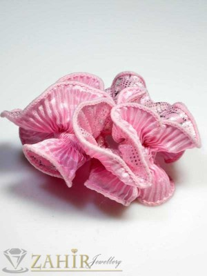 Бонбонено-розов двулицев ластик за коса - L1016