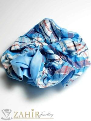 Синьо каре двулицев ластик за коса - L1041