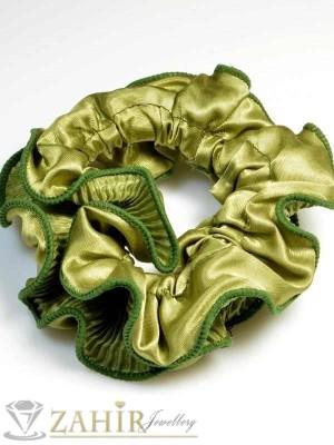 Светло-тъмно зелен двулицев ластик за коса - L1045