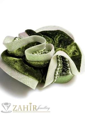 Маслиненозелен двулицев ластик за коса - L1046