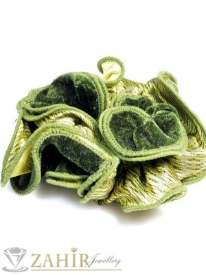 Масленозелен двулицев ластик за коса - L1047