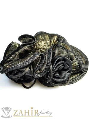 Златисто-черен двулицев ластик за коса - L1061
