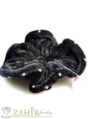 Черен велурен двулицев ластик за коса - L1063