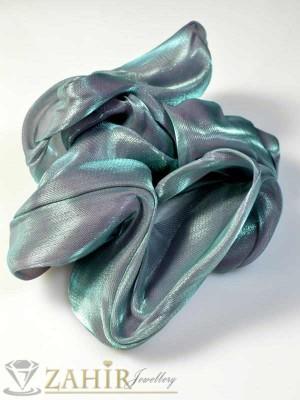 Висококачествен сатенен синкав ластик за коса - L1072