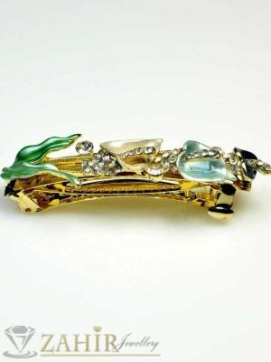 Луксозна шнола с цветен емайл и кристали за цялата коса - HC1007