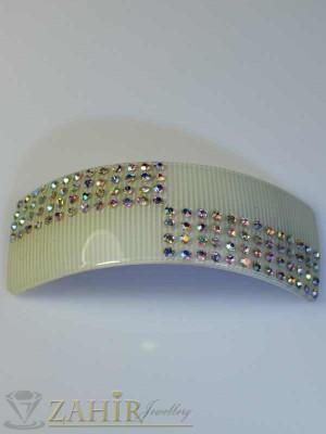Луксозна черна шнола-щъркел с блестящи кристали за кок - HC1067