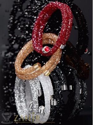 Модел 2017 г. двойна Дизайнерска гривна с фасетирани цветни кристали, регулираща се  - G1800