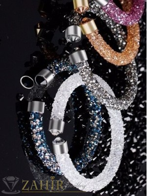 Модел 2017 Дизайнерска гривна с кристали, 6 налични цвята,регулираща се - G1170