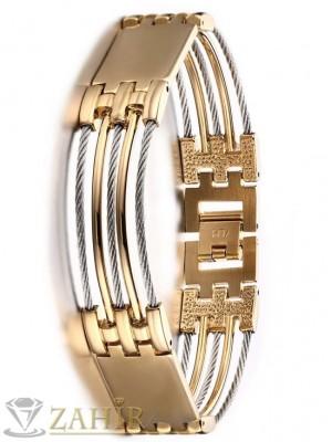 Нов дизайн стоманена гривна с позлата 21 см с плочки и метални нишки, златно покритие - GS1141