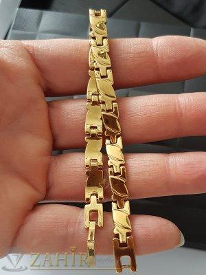 Нежна гравирана позлатена гривна верижка 19 см с малки плочки, широка 0,6 см - G1227