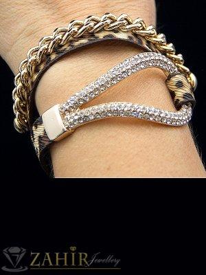 Топ-Хит двойна гривна дълга 37 см, позлатен елемент с кристали и кожена каишка- G1232