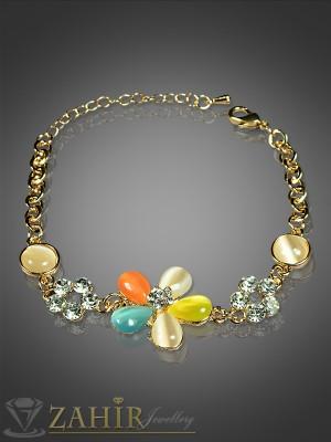 Нежна гривна с камъни котешко око и златно покритие -18+5 см- G1416