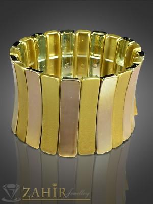 Спортно-елегантна ластична гривна златиста - 4 см - G1432