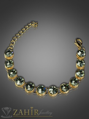 Стилна гривна с графитени кристали и златно покритие-18+5 см - G1463