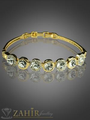 Красива бенгъл гривна с фасетирани циркони и златно покритие - 18 см - G1498