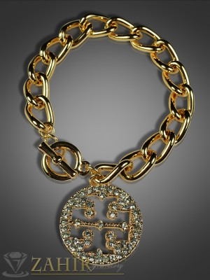 Модна гривна верижка с плочка от циркони и златно покритие - 18 см - G1499