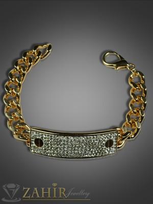 Гривна верижка с масивна плочка с циркони и златно покритие - 18 см - G1505