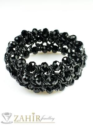 Елегантна гривна - 18 см с фасетирани черни кристали - G1550
