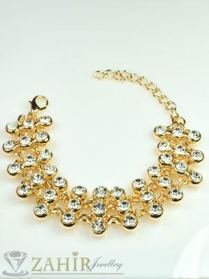 Красива  цирконена гривна със златно покритие - 16+5 см дълга - G1619