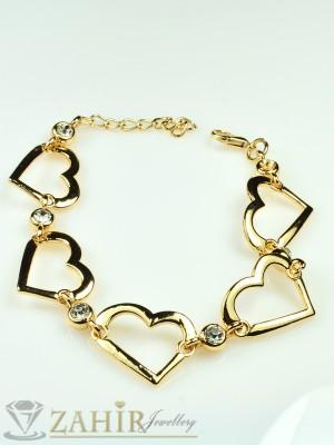 Нежна гривна със сърца и бели кристали и розово златно покритие - дължина 18+3 см - G1626