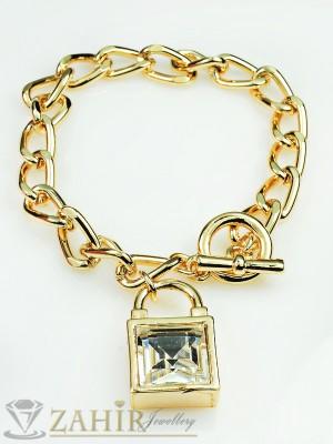 2016 хит уникална гривна тип верижка - 18 см с 2 лица и голям бял кристал, златно покритие - G1653