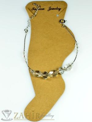 Гривна за крак от неръждаема стомана с бели кристали и удължител - 16+5 см - GK1004