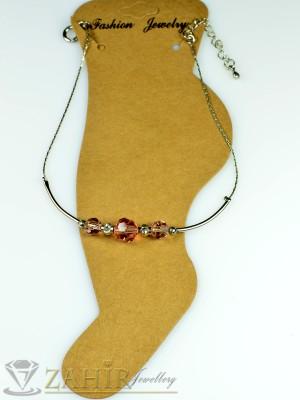 Гривна за крак от неръждаема стомана с розови кристали и удължител - 16+5 см - GK1005