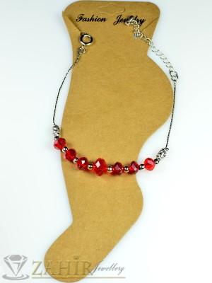 Гривна за крак от неръждаема стомана с червени кристали и удължител - 16+5 см - GK1007