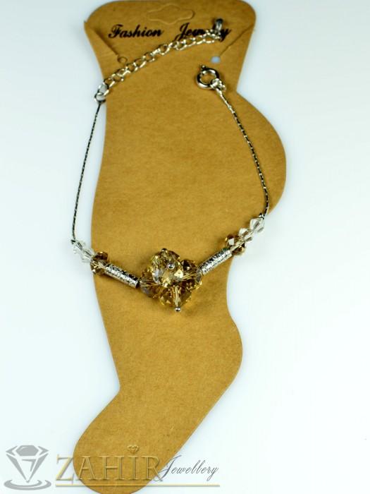Гривна за крак от неръждаема стомана с пясъчни кристали и удължител - 16+5 см - GK1009
