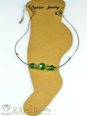 Гривна за крак от неръждаема стомана със зелени кристали и удължител - 16+5 см - GK1017