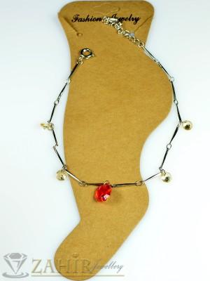Гривна за крак от неръждаема стомана с червен и пясъчни кристали и удължител - 20+5 см - GK1026