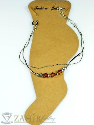 Двойна гривна за крак от неръждаема стомана с кафяви кристали и удължител - 16+5 см - GK1027