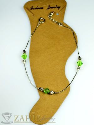 Гривна за крак от неръждаема стомана със зелени кристали и удължител - 20+5 см - GK1031