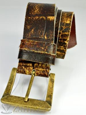 2019 хит кафяв колан протрита естествена телешка кожа, широк 4,5 см, златиста старинна тока - BM1002