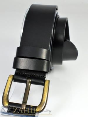 Висококачествен колан естествена дебела телешка кожа, черен, широк 4 см - BM1017