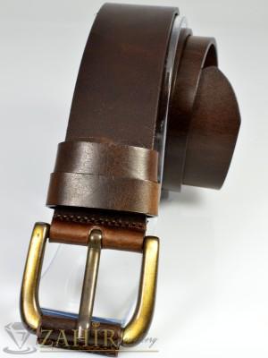 Висококачествен колан естествена дебела телешка кожа, кафяв, широк 4 см - BM1018