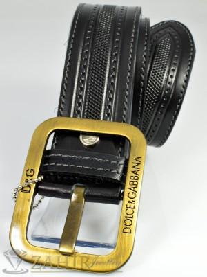 Дизайнерски колан естествена телешка кожа, черен с орнаменти, широк 4,5 см - BM1019