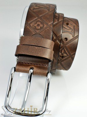 Дизайнерски колан естествена телешка кожа, кафяв, релефни орнаменти, широк 4 см - BM1025