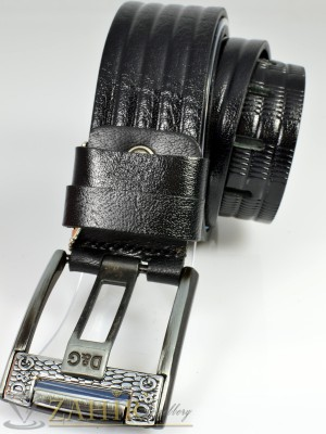 Дизайнерски колан естествена телешка кожа, черен, релефни орнаменти, широк 4,5 см - BM1029