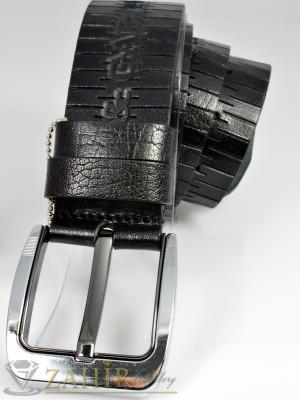 Дизайнерски колан естествена телешка кожа, черен, релефни орнаменти, широк 4,5 см - BM1030
