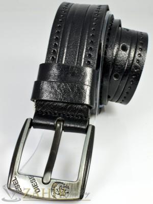 Дизайнерски колан естествена телешка кожа, черен, релефни орнаменти, широк 4,5 см - BM1032