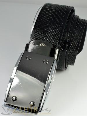 Черен колан лак от естествена кожа, релефни орнаменти, тока плочка, широк 4,5 см - BM1052